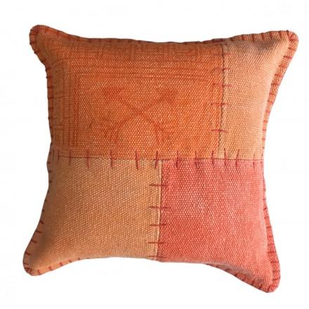 Vintage patchwork quadrati FINCA cuscino fatto a mano (arancione)