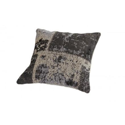 Cuscino quadrato matrice di Boemia a mano (nero grigio)