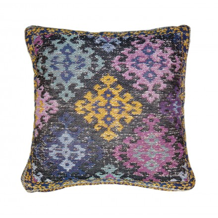 Handmade patchwork SAULIN square cushion (multicolor)