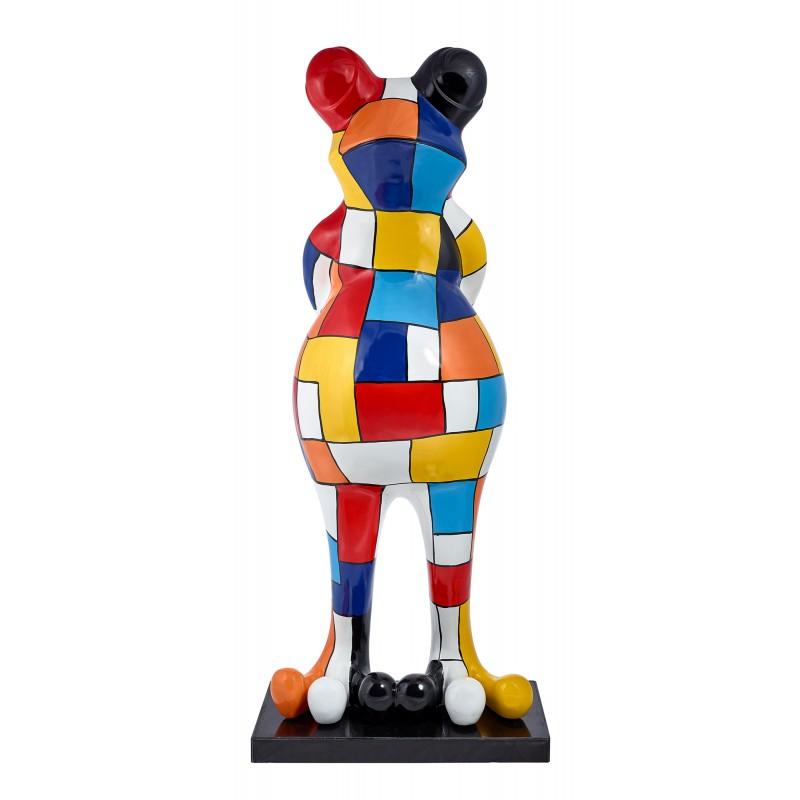 Statue sculpture décorative design GRENOUILLE DAMIER en résine H150 (multicolore)