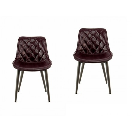 Set of 2 retro chairs padded EUGENIE (purple)