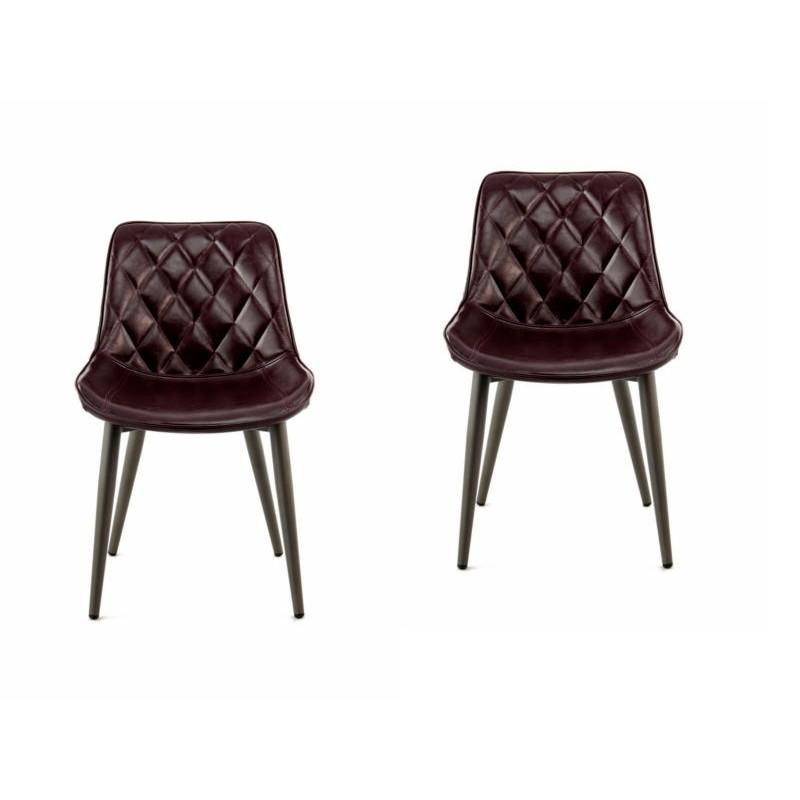 Lot de 2 chaises rétro matelassées EUGENIE (Violet) - image 42002