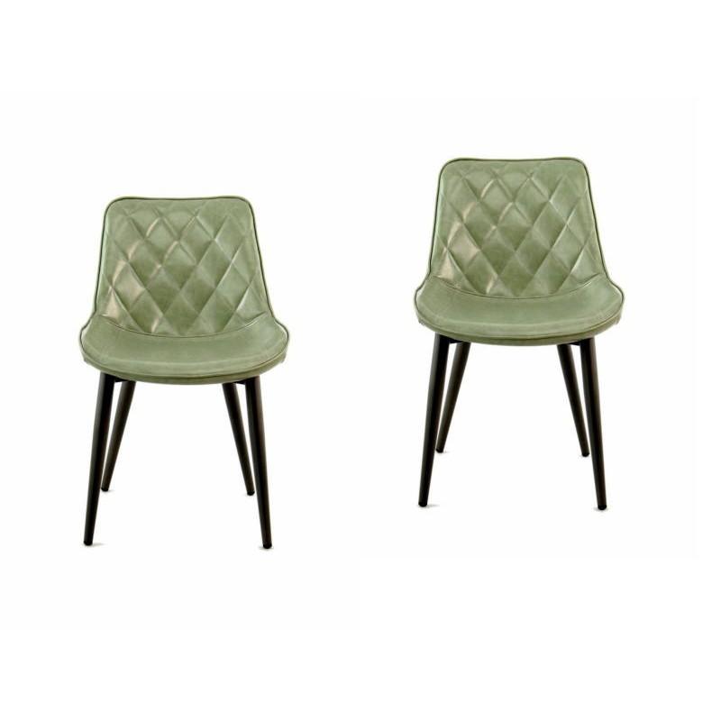 Lot de 2 chaises rétro matelassées EUGENIE (Vert) - image 42011