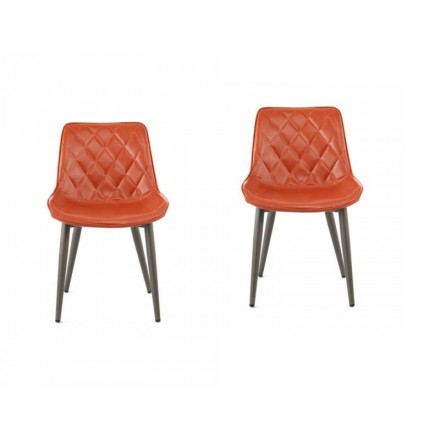 Set of 2 retro chairs padded EUGENIE (Brown)