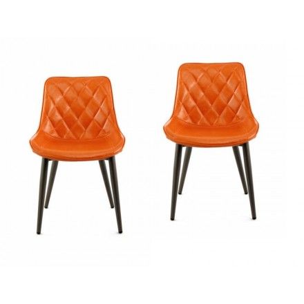 Set of 2 retro chairs padded EUGENIE (Orange)