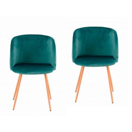 Lot de 2 chaises en velours scandinave LISY (Vert)