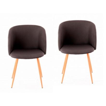 Conjunto de 2 sillas en tela PAOLA escandinavo (gris oscuro)