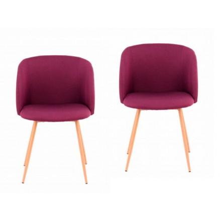 Conjunto de 2 sillas en tela PAOLA escandinavo (púrpura)