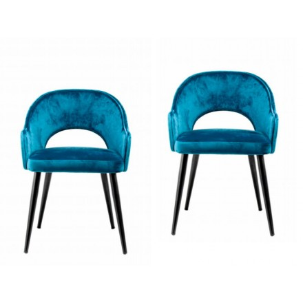 Lot de 2 chaises en tissu avec accoudoirs LEXANE (Bleu)