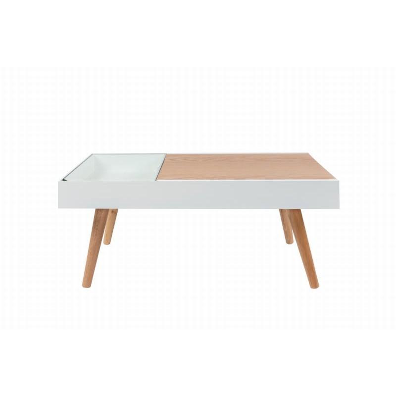Table basse scandinave en bois MAITHE (Blanc, Naturel) - image 42245