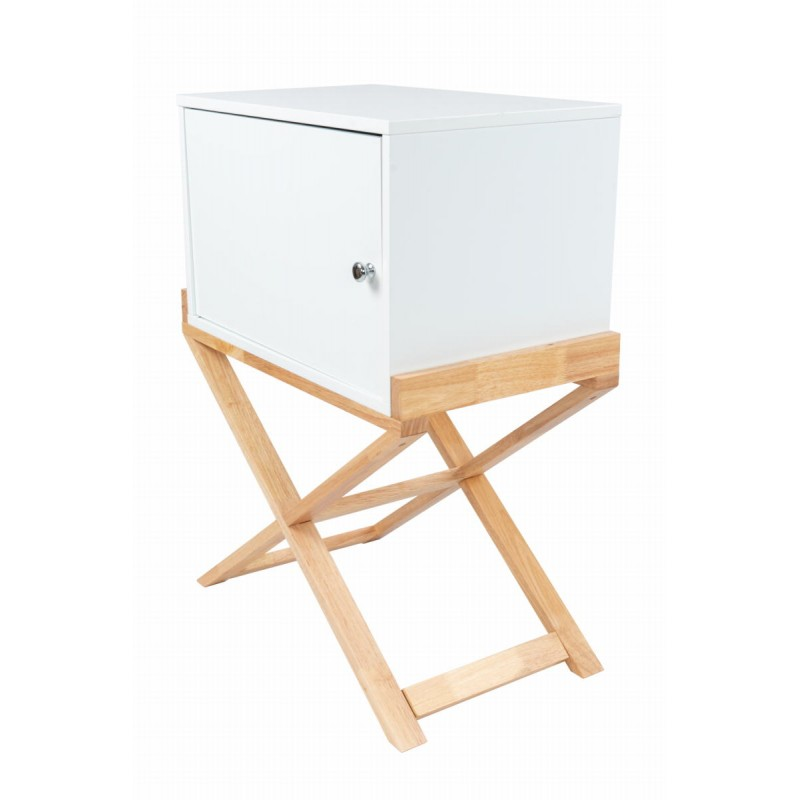 Storage cabinet night table 1 door Scandinavian MAITHE (white, natural) - image 42251