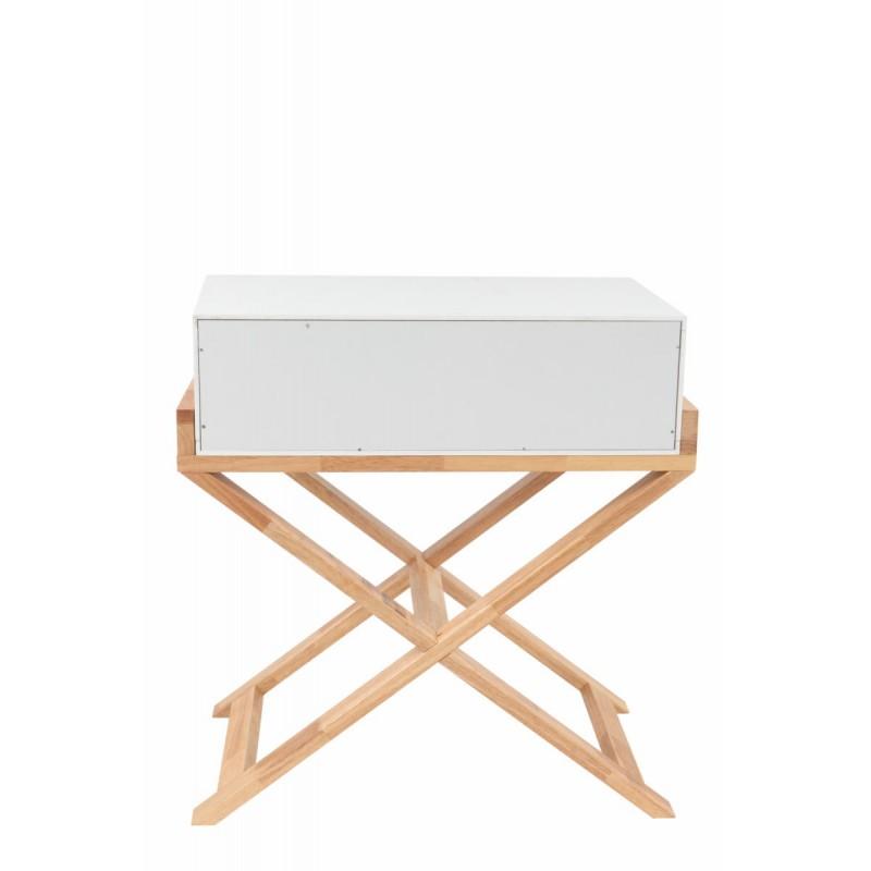 Meuble de rangement table nuit 1 tiroir scandinave MAITHE (Blanc, Naturel) - image 42259