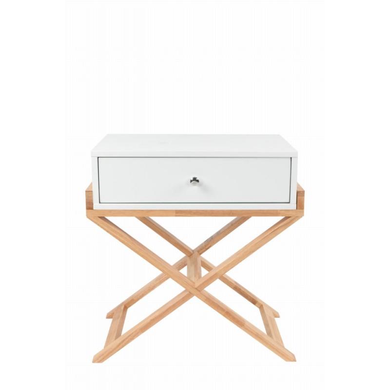 Meuble de rangement table nuit 1 tiroir scandinave MAITHE (Blanc, Naturel) - image 42260