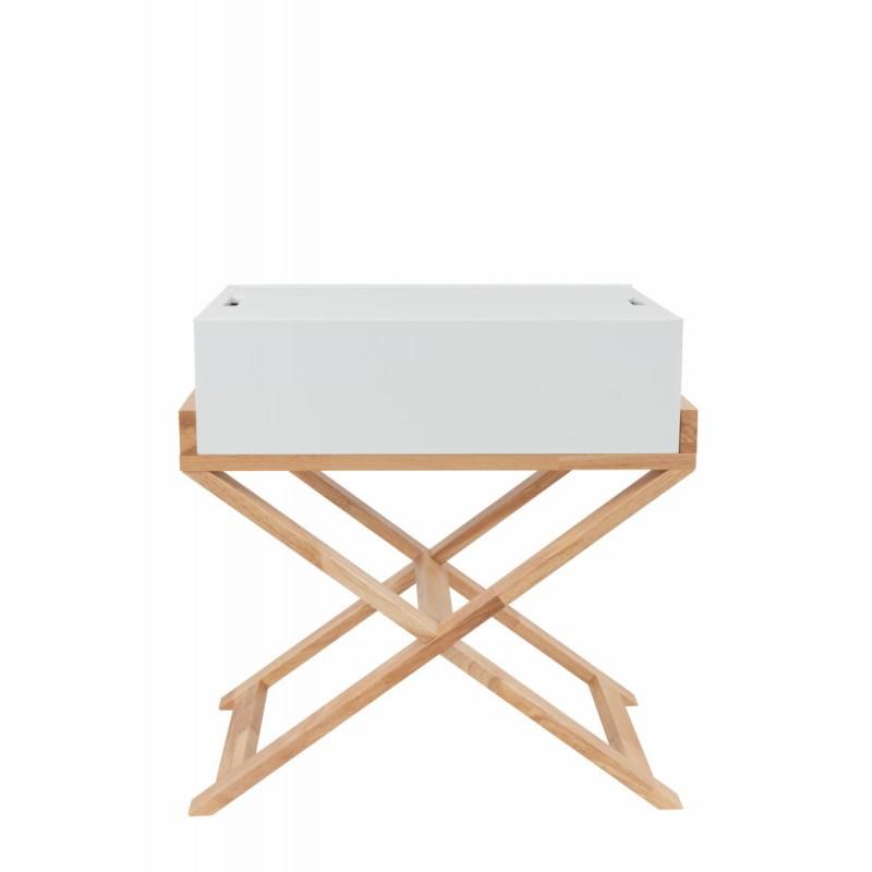 Meuble de rangement table de nuit scandinave MAITHE (Blanc, Naturel) - image 42264