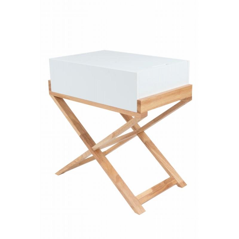 Meuble de rangement table de nuit scandinave MAITHE (Blanc, Naturel)