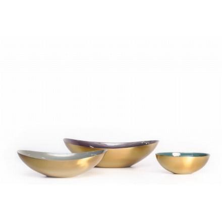 Set mit 3 Schalen Giebel (lila, grau, blau)
