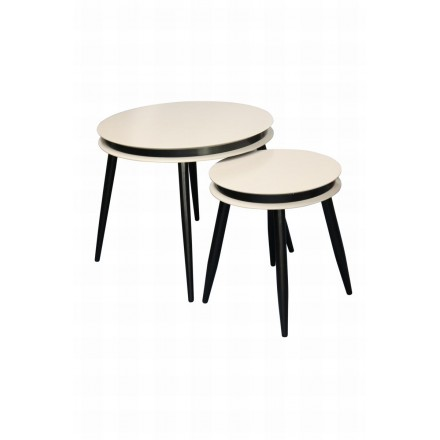 Pull-out tables ROSINE in MDF and poplar wood (Beige)