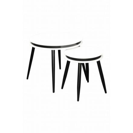 Mesas extraíbles ROSINE en madera MDF y Álamo (blanco)
