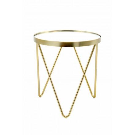 Table d'appoint, bout de canapé MARILOU en verre et métal (Doré)