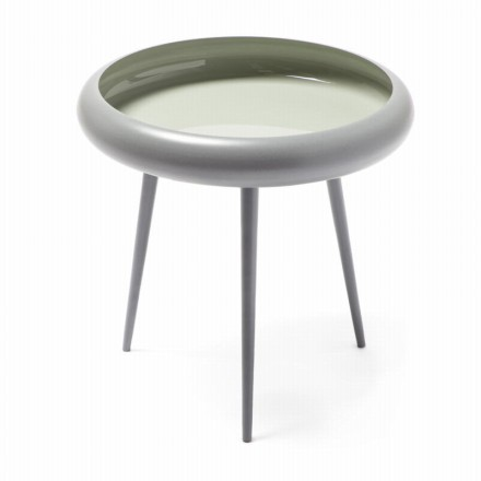 End table, end table FAUSTINA in metal and aluminium (gray, light gray)