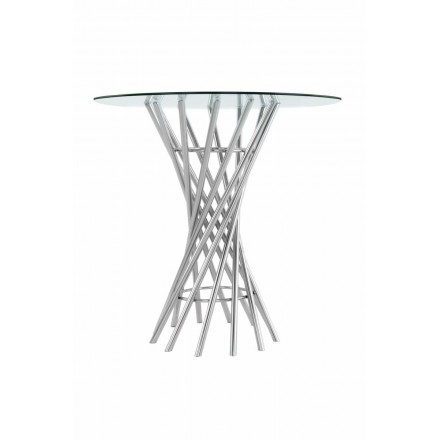 End table, end table ISIDORE in metal and glass (Silver)