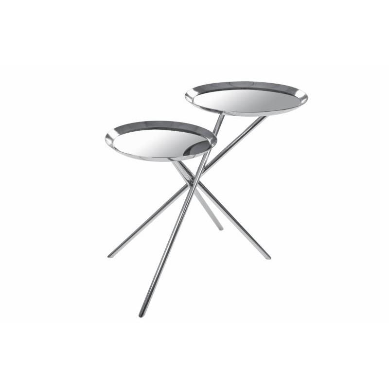 Tavolino da 2 vassoi, tavolino vetro FÉRÉOL (argento)