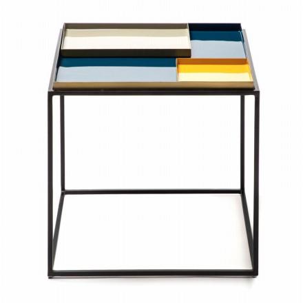 Table d'appoint, bout de canapé SALVADOR en métal (Bleu, Gris, Doréange)