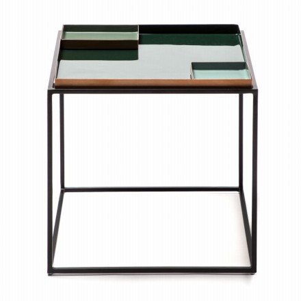 Table d'appoint, bout de canapé SALVADOR en métal (Vert foncé, Vert clair)