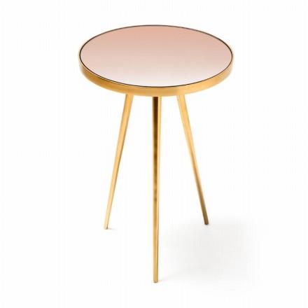 Table d'appoint, bout de canapé ELODIE en MDF, miroir, aluminium (Doré)