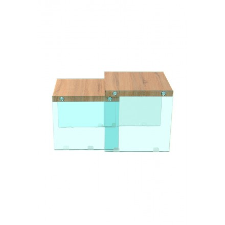 Pull-out want wooden tables melamine, glass (natural, transparent)