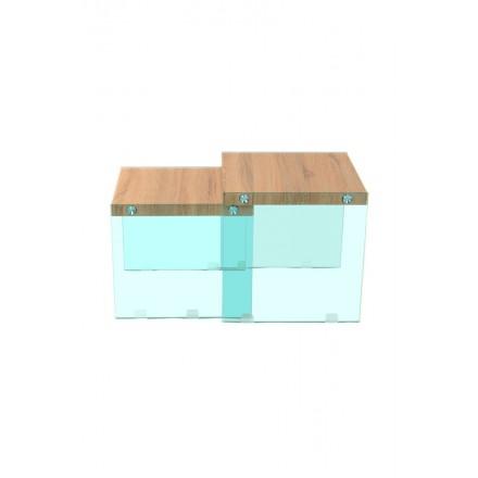 Tables gigognes ISORE en bois mélaminé, verre (Naturel, transparent)