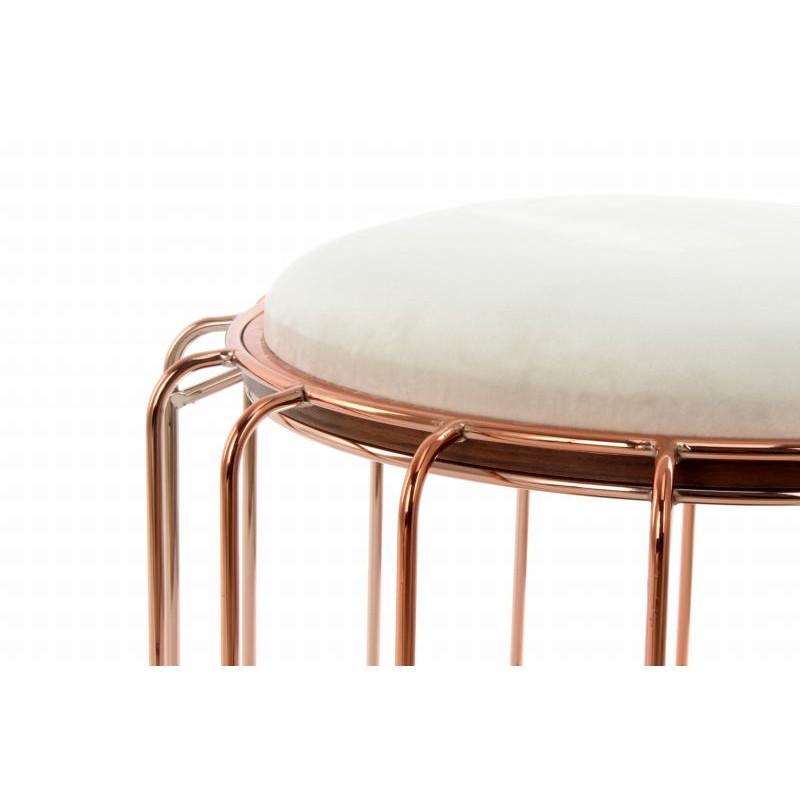 Pouf, table d'appoint FAUVE en velours (Beige, Rosé) - image 42512