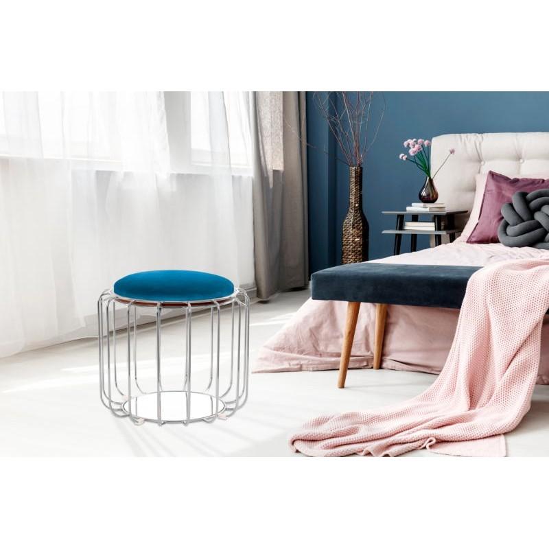 Pouf, table d'appoint FAUVE en velours (Bleu, Argent) - image 42516