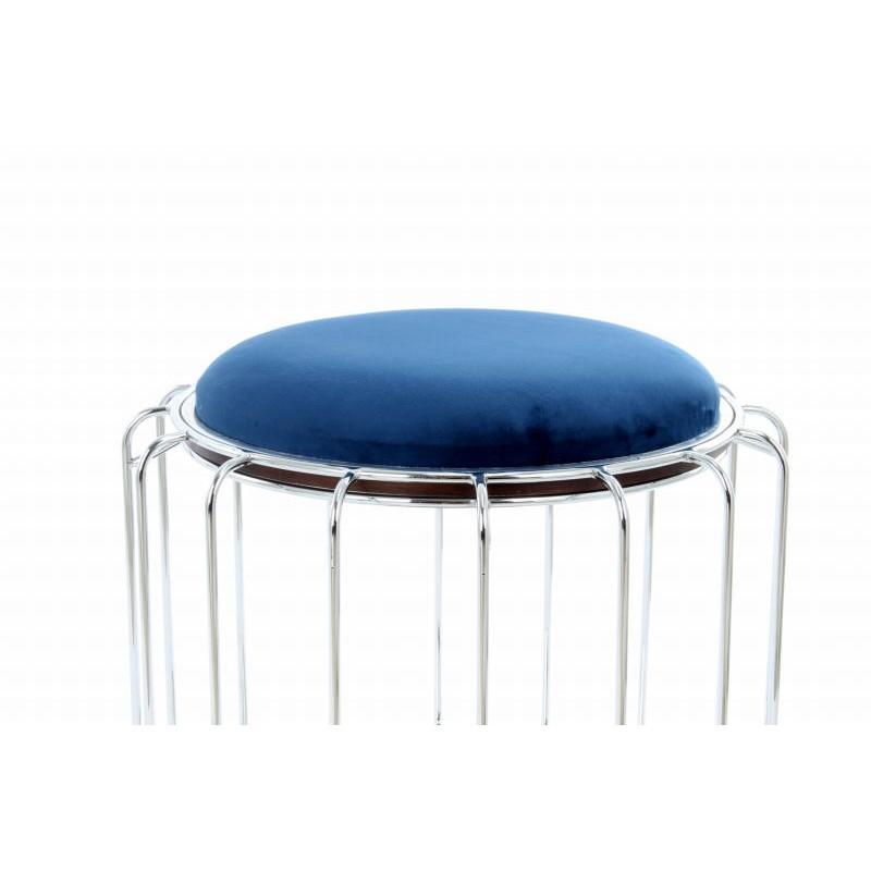 Pouf, table d'appoint FAUVE en velours (Bleu, Argent) - image 42518
