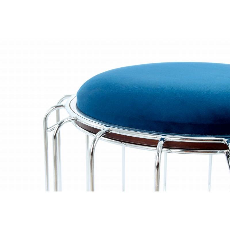 Pouf, table d'appoint FAUVE en velours (Bleu, Argent) - image 42520