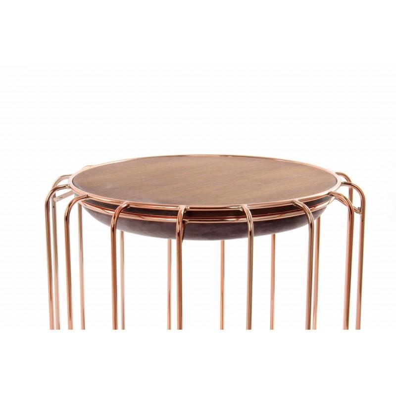 Pouf, table d'appoint FAUVE en velours (Marron foncé, rose) - image 42535