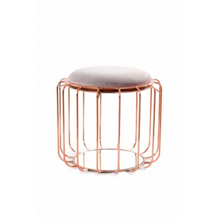 Pouf, table d'appoint FAUVE en velours (Marron, rose)