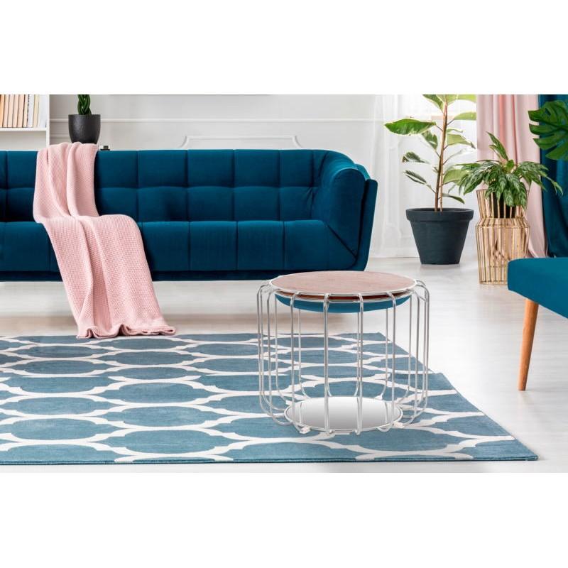 Pouf, table d'appoint FAUVE en velours (Bleu clair, Argent) - image 42571