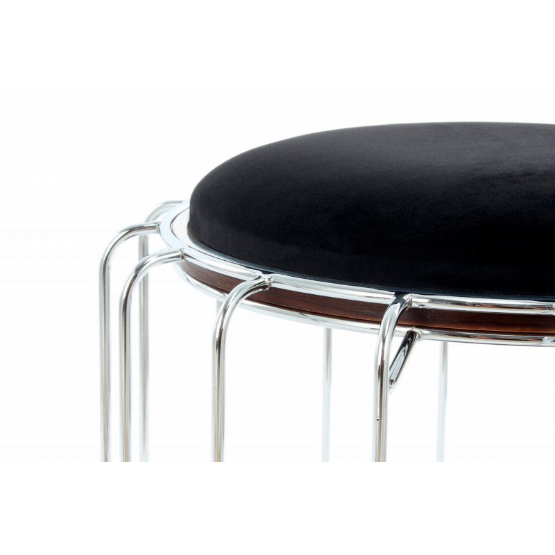 Pouf, table d'appoint FAUVE en velours (Noir, Argent) - image 42584