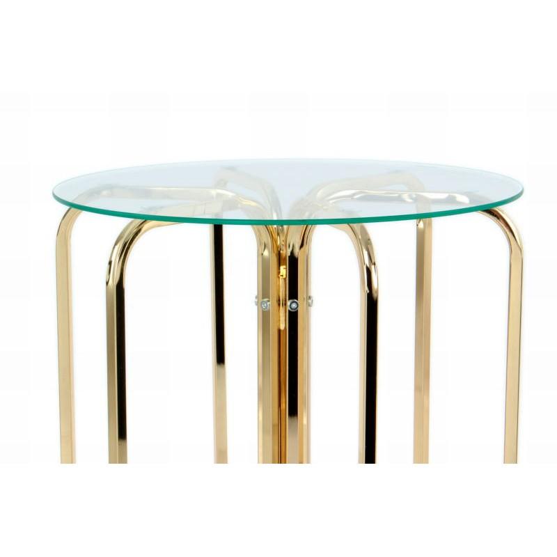 Table d'appoint, bout de canapé GUILIA en métal et verre (Doré) - image 42635