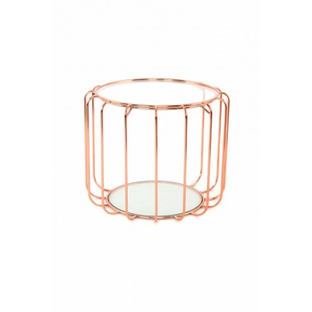 Beistelltisch, Beistelltisch APOLLINE in Metall, Spiegel und Glas (rosa)