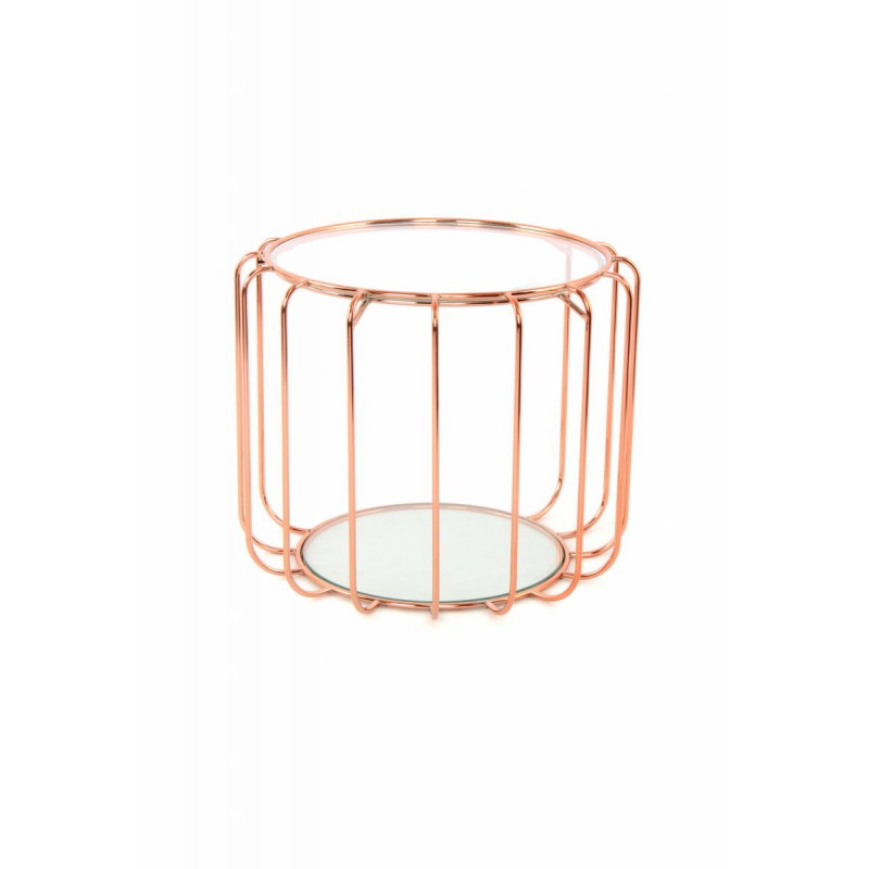Table d'appoint, bout de canapé APOLLINE en métal, miroir et verre (Rosé)