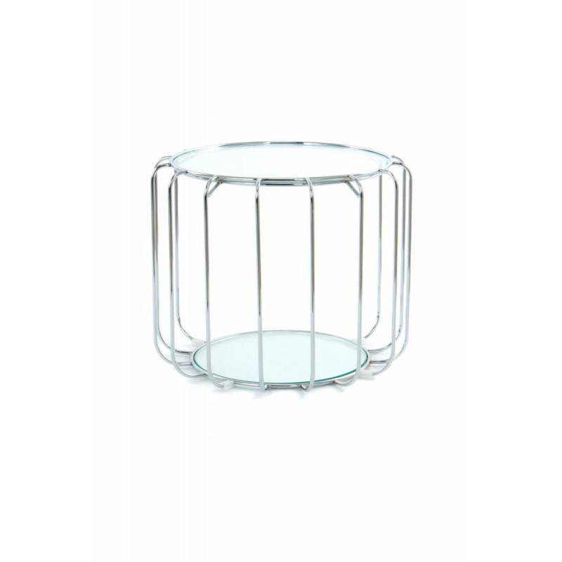Table d'appoint, bout de canapé APOLLINE en métal, miroir et verre (Argent) - image 42650