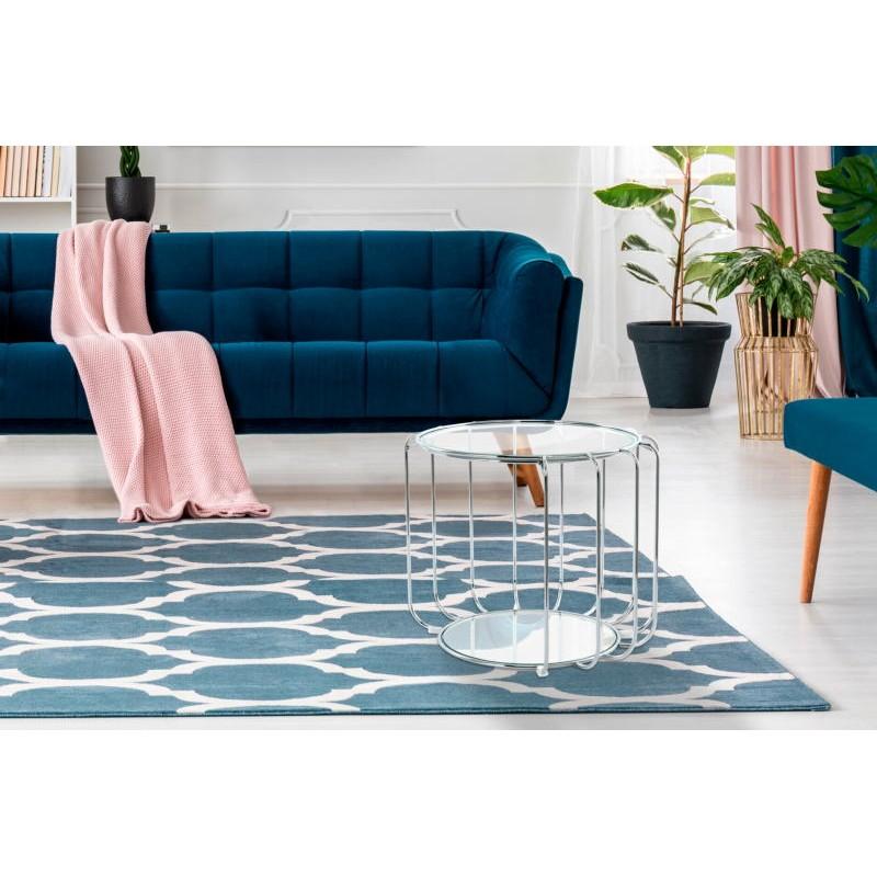 Table d'appoint, bout de canapé APOLLINE en métal, miroir et verre (Argent) - image 42654