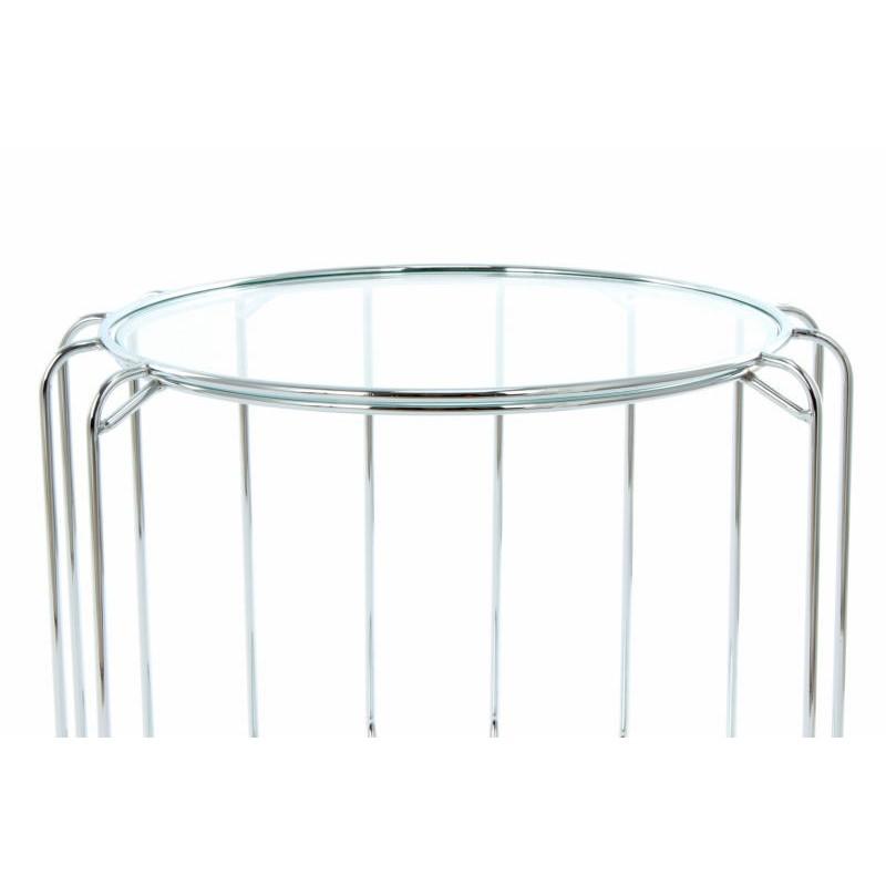 Table d'appoint, bout de canapé APOLLINE en métal, miroir et verre (Argent) - image 42655