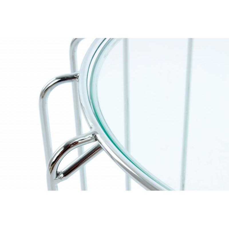 Table d'appoint, bout de canapé APOLLINE en métal, miroir et verre (Argent) - image 42656
