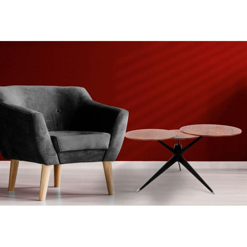 Table d'appoint 3 plateaux, bout de canapé MARION en métal et bois MDF (Marron, Noir) - image 42674