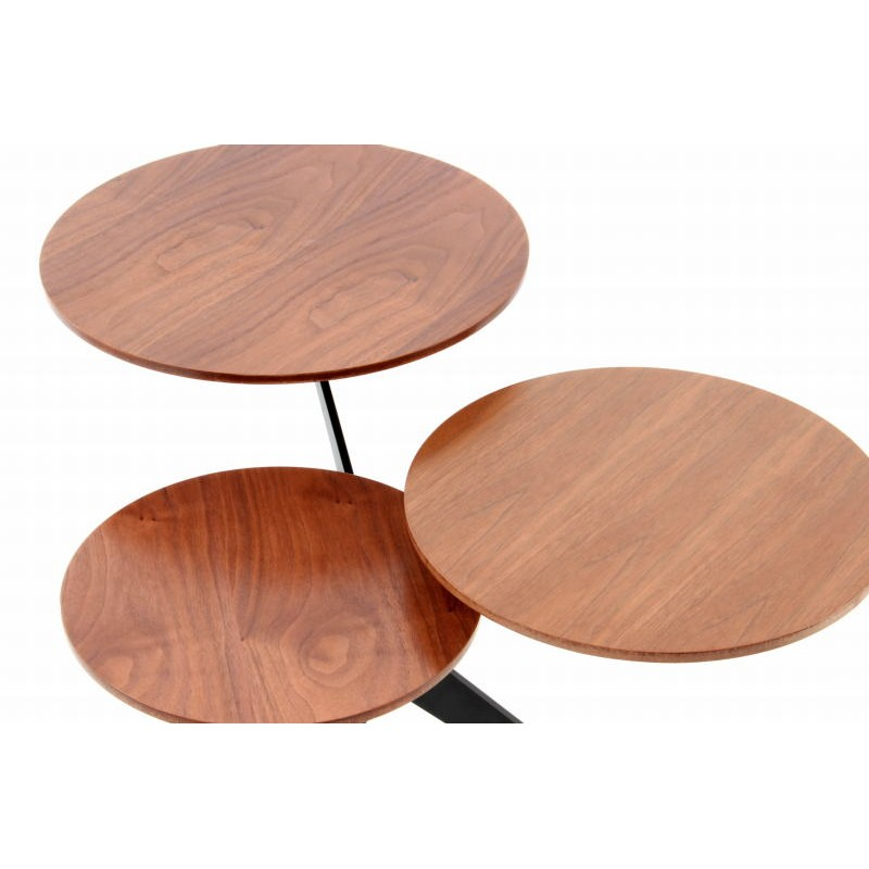 Table d'appoint 3 plateaux, bout de canapé MARION en métal et bois MDF (Marron, Noir) - image 42676