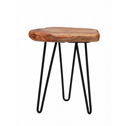 Table d'appoint, bout de canapé ELISE en métal et bois de cèdre (Naturel)