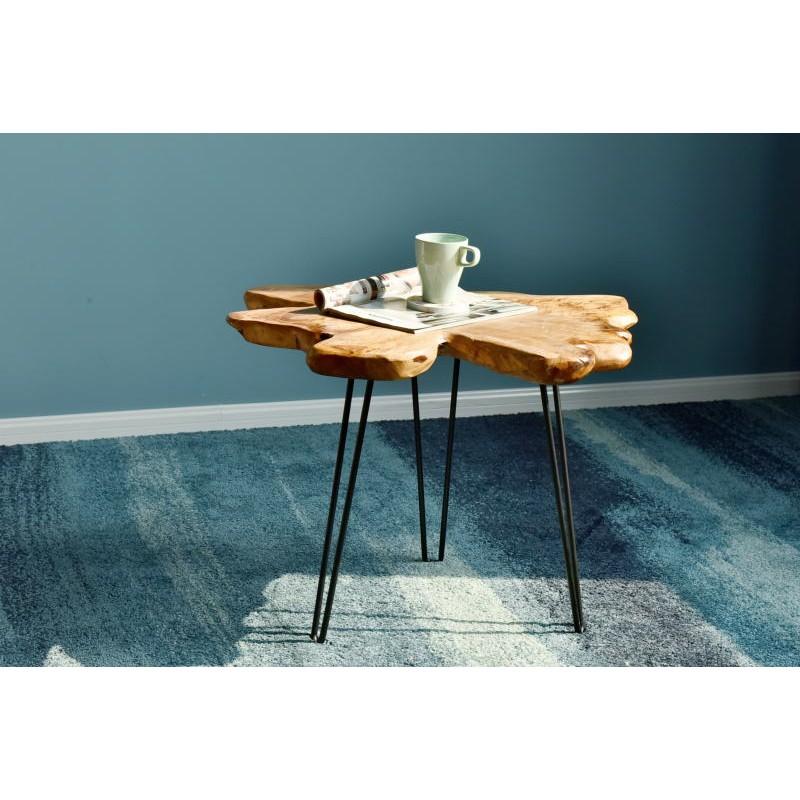 Beistelltisch, Beistelltisch ALYSSA Metall und Zeder Holz (Natur) - image 42722
